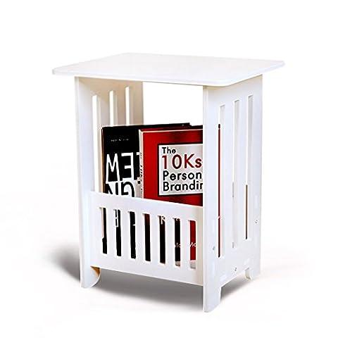 Beyonda Magazine de stockage de direction Table basse carrée Blanc, salon, bureau, chambre à coucher Table d'appoint pour lampe, ordinateur portable, des livres, blanc, Small