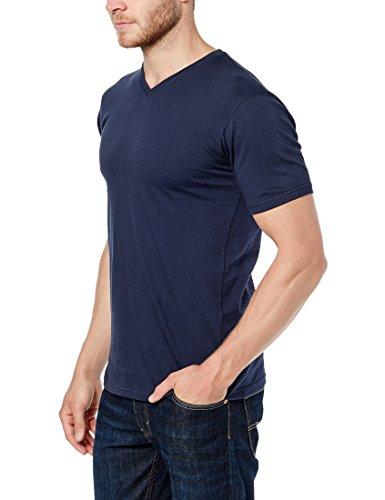 Lower East Herren T-Shirt mit V-Ausschnitt, 5er Pack Weiß/Schwarz/Grau/Blau/Grün