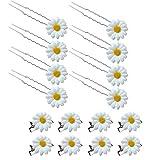 SwirlColor Haarnadeln Hochzeit Blume Haarnadeln Set Daisy Haarschmuck für Braut Haarschmuck Blumen Mädchen 16 STÜCKE (Weiß)