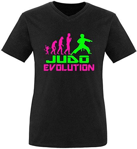 EZYshirt® Judo Evolution Herren V-Neck T-Shirt Schwarz/Pink/Neongr