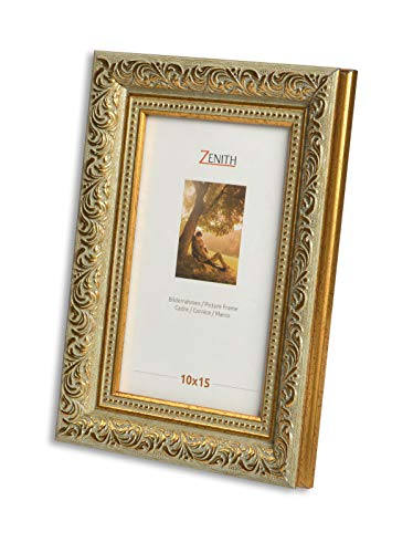 "Victor antiker Bilderrahmen \""Rubens\"" grün Gold in 10x15 cm - Leiste: 30x20 mm - Echtglas - barock"