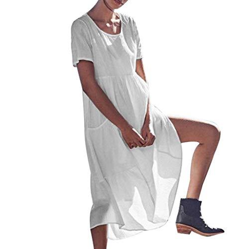 Frauen Pure Color Taschen Kurzarm Baumwolle Und Leinen Easy Sandy Beach Dress Kurzärmeliges, Einfarbiges, Langes Strandkleid Aus Baumwolle Mit Rundhalsausschnitt Hippie-vintage-robe