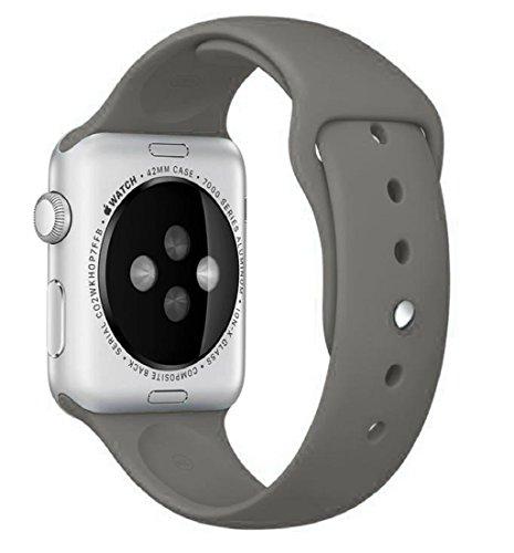 Preisvergleich Produktbild 42mm iWatch Band Tonsee Sport Silikon Armband (Khaki) (Grau)