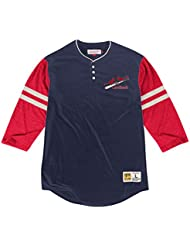 """St. Louis Cardinals Mitchell & Ness MLB """"Home Stretch"""" 3/4 Sleeve Henley Shirt Chemise"""