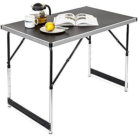Relaxdays - Mesa plegable Mesa auxiliar Mesa para camping Mesa con base de MDF y tubos de aluminio