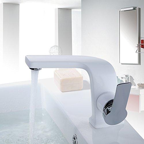 Homelody - Einhebel-Waschbeckenarmatur, ohne Ablaufgarnitur, Curved-Design, Weiß-Chrom