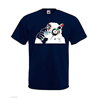 Banksy Affe Mit Kopfhörer Herren T-Shirt / Bunt Schimpanse Kopf zu hören Music Kopfhörer / Street Art Graffiti Hemd + Gratis Aufkleber Geschenk - Marineblau, XX-Large