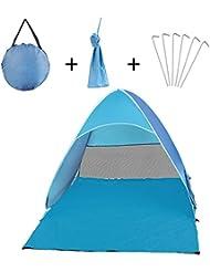 YaFex Tienda de Campaña ,Mini Tienda de la Playa Pop Up Portàtil / Ventilación / Plegada con Protección UV para Camping Acampada Playa - Para 2 o 3 Personas