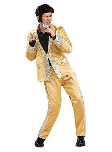 Goldener Anzug Elvis Kostüm 2teilig - Medium Adult Deluxe Gold Satin
