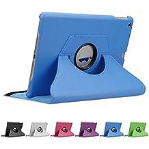 doupi 360 Deluxe Protección Funda para Apple iPad Air ( 1. Gen. ) Smart Case Sleep / Wake función 360 grados de la cubierta de cuero giratoria del caso del soporte protector de la pantalla cubierta de la bolsa, Azul