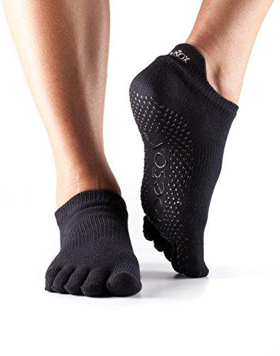 Toesox–Calcetines para hombre y mujer 1par completa Dedos algodón orgánico Yoga de baja altura Calcetines en color negro