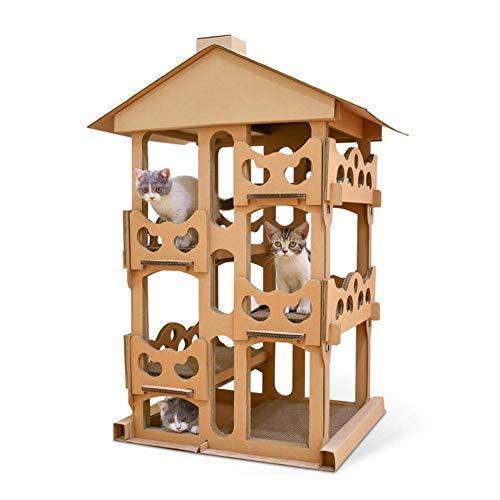 LLDE Bälle Toys Katzenhaus, Katzenvilla, Katzen Kletterwand, Katzen-Kratzbrett, Wellpapier Spielzeug Für Haustiere 4 Etagen Naturkautschuk Langlebig