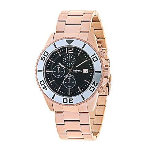 Nautec No Limit Herren Chronograph Quarz Uhr mit Edelstahl Armband Taco-QZ RG-BK