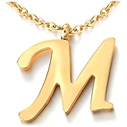 COOLSTEELANDBEYOND Nom Initial Lettre Alphabétique M Pendentif - Collier pour Femmes Homme - Acier - Couleur Or - 50cm Corde Chaîne