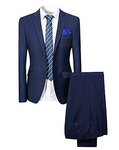 Costume homme de couleur unie un boutons d'affaire mariage slim fit deux pièces (XXX-Large, Bleu