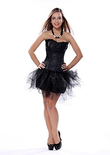 Bustino a corsetto da donna, con lacci intrecciati, sexy ed elegante, perfetto per matrimoni, circoli ricreativi, feste natalizie, celebrazioni e vacanze Black 3