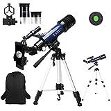 ESAKO Telescopio para Principiantes y Adultos Telescopios refractores astronómicos de 70 mm con Mochila de trípode Ajustable en Altura Soporte para teléfono y Filtro de Luna
