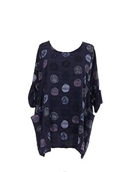 New Italian Ladies Women Lagenlook Polka Dots Cotton Tunic Top Plus Size 16-24 (Navy) 0