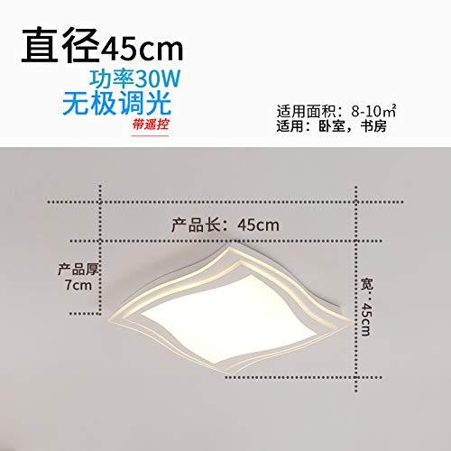Heqor Familie Beleuchtung Wohnzimmer Lampe Schlafzimmer Moderne minimalistische stufenlose Dimmen LED Deckenleuchte rechteckige Lampe, 45 * 45 cm-Polarisation Dimmen