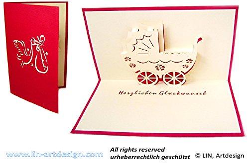 Cartes de vœux 3D Pop-Up Motif cigogne et poussette idéale pour la naissance/anniversaire d'une fille Rouge en allemand