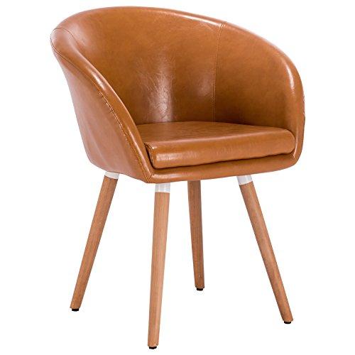 Woltu bh73br-1 poltroncina con schienale braccioli sedia sgabello poltrona per cameretta cucina sala d'attesa pu gambe legno moderno marrone