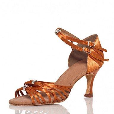 Silence @ pour femme Chaussures de danse latine/Jazz/Chaussures de swing/Salsa/Samba satiné Talon Marron marron