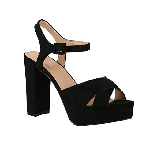 Elara Damen Pumps | Bequeme Peep-Toe Pumps | Trendige Plateau High Heels | Chunkyrayan AT0986 Black-39 Black Party Pumps