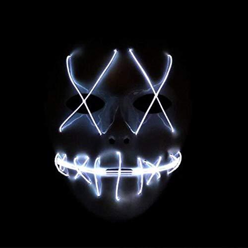 LED-Halloween-Maske - Halloween Scary Maske, Cosplay LED-Kostüm-Maske, EL-Draht leuchten den Purge Film (Color : White)