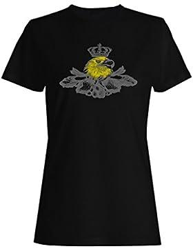 Águila cabeza, corona y sunburst arte camiseta de las mujeres oo56f