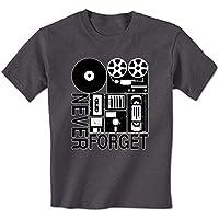 XDD kjjhbgyugyt Never Forget Old Technology Vinyl Cassette VHS Floppy Disc Vintage Mens T-Shirt