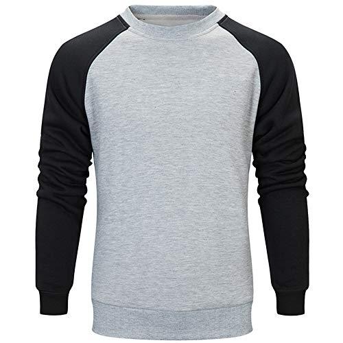 Cloom Herren T-Shirt Hoodie Herren Longsleeve Slim fit Shirt Sweatshirt Rundhals Herren Pullover Strickpullover Basic Crew Neck Langarmshirt Sweater Feinstrick Baseball Shirt Herren (M, Grau) Baseball-sweatshirt