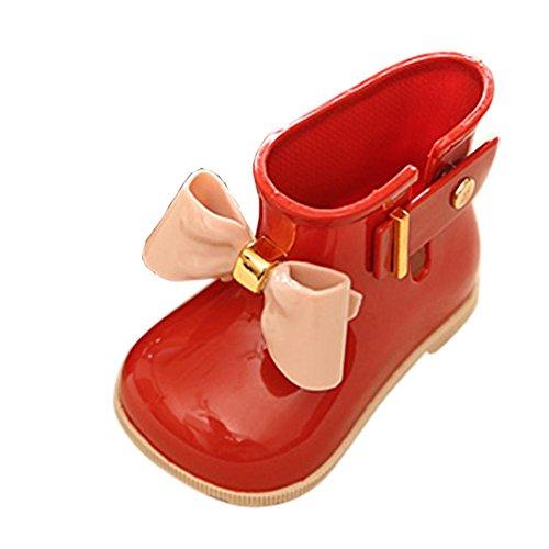 JERFER Gummistiefel Kinder Regenstiefel | Bunte Unisex-Gummistiefel Für Mädchen und Jungen | schadstofffrei Wasserdicht Schuhe (19, Rot)