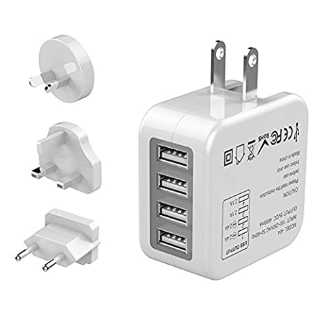 USB Charger, 4-Port USB Wall Charger International Travel Charger Adapter with UK EU US Plug for iPhone 7/6s/6/5/5s/ 7 Plus/ 6 plus/6s plus, iPad, iPod, Galaxy S8/S7/S6/Edge, Note Series, HTC, LG, Tablet, Kindle, MP3, Digital Camera, Power Bank (5V 4.6A, White) (White)
