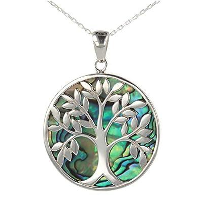 Cadeau bijoux symbole Arbre de vie Pendentif Nacre abalone Argent rhodié rond femme