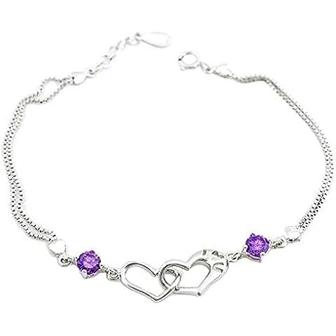 Bracciale da donna a forma di Cuore Bracciale Charm Dehang braccialetto in argento Sterling 925 con accidentale regalo custodia-bianco/viola