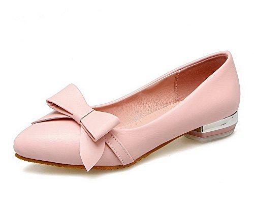 VogueZone009 Femme PU Cuir Rond à Talon Bas Tire Couleur Unie Chaussures Légeres Rose