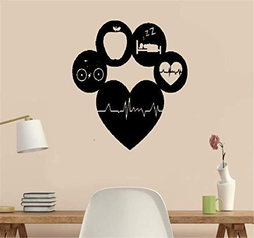 adesivo murale healthy lifestyle living sports gym fitness dieta cardio