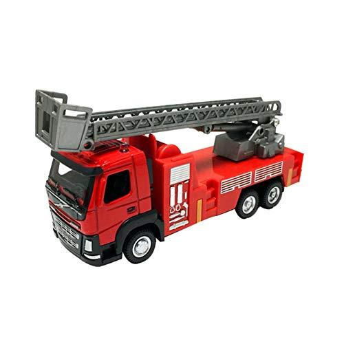 Zurückziehen Auto Feuerwehrauto für Kinder Simulations Legierungs Automodell 1:50 Autospielzeug mit Schiebeleiter/Wasserspray Kinderspielzeug Auto Spielzeug für Jungen Mädchen