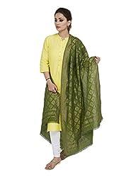 Shingora Green Zari Geometric Dupatta For Women
