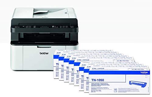 Brother MFC-1910W Stampante Multifunzione Laser, Fronte, Monocromatica, Compatta, Fax, USB e Wi-Fi [Italia] + TN1050 Toner Originale, Capacità Standard, fino a 1000 Pagine, Nero
