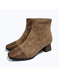 22eb7b18f2565 Martin Botas De Mujer Vintage Otoño Invierno Tacón Medio Cuadrado Botas De  Bloque Corto Ideal para Mujeres Trabajo Compras Desgaste…