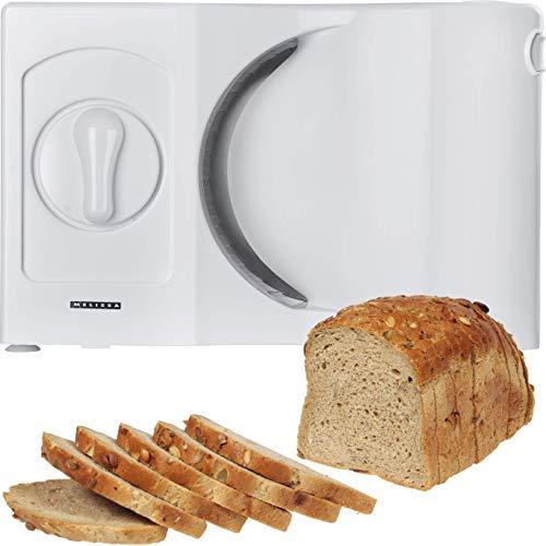 Melissa 16310186 Allesschneider für Linkshänder Wellinschliffmesser klappbar Brotschneidemaschine Brotmaschine weiß