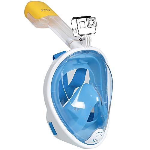 Innoo Tech Tauchmaske vollgesichtsmaske, Schnorchelmaske für Erwachsene und Kinder, 180° schnorchel vollmaske Anti-Fog Tauchermaske, Taucherbrille vollgesicht Silikon Dichtrand Anti-Leak, S/M