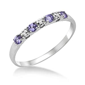 Eternity Ring, 9ct White Gold, Diamond and Tanzanite Claw Set Eternity Ring, Size L, by Miore, MT016TRM