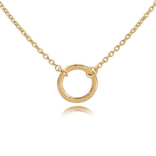Pernille Corydon Goldkette Damen Open Coin Ring runder Kreis-Anhänger Halskette mit variabler Länge 38,5-46,5 cm 925er Silber vergoldet - N218g