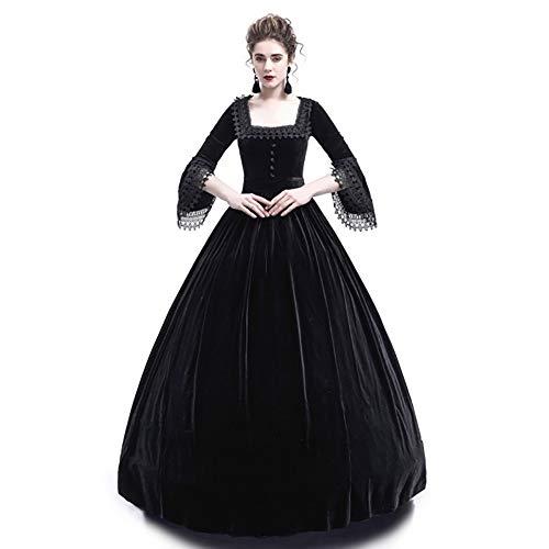 Liyukee Medieval Square Collar Maxi Dress Women Vintage Velvet Theatrical Victorian Dress Slim...