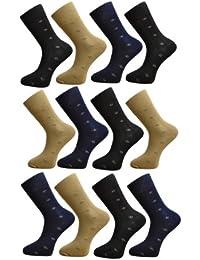 Mens/Gentlemens 12 Pair Light Elasticated Top Diamond Stripe Print Socks, UK: 7-11 EUR: 41-45, Assorted Colours