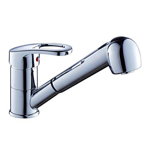 Auralum cromo miscelatore lavello cucina con doccetta estraibile rubinetto monocomando lavandino cucina moderno, beccuccio girevole