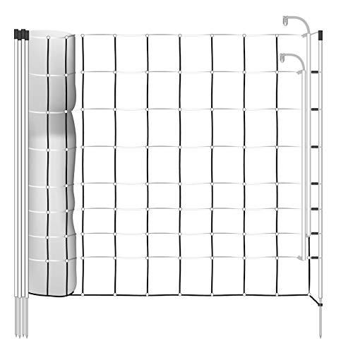 Filet plus/minus 50m H : 106cm blanc/noir VOSS.farming 14 piquets pointe unique clôture électrique