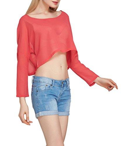 Smile YKK T-shirt Courte Femme Mousseline de Soie Top Crop Haut Chemise Manches Longues Ventre Nu Rose